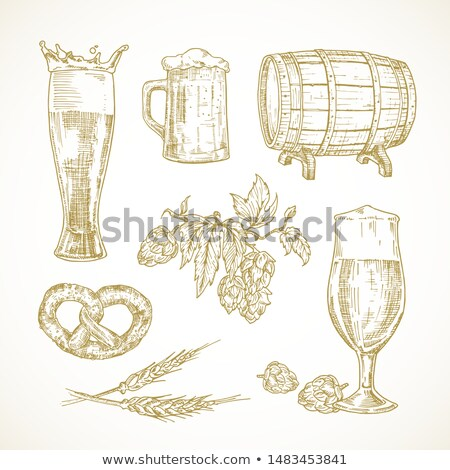 Cask Beer Hop and Snack Set Vector Illustration Stock photo © robuart