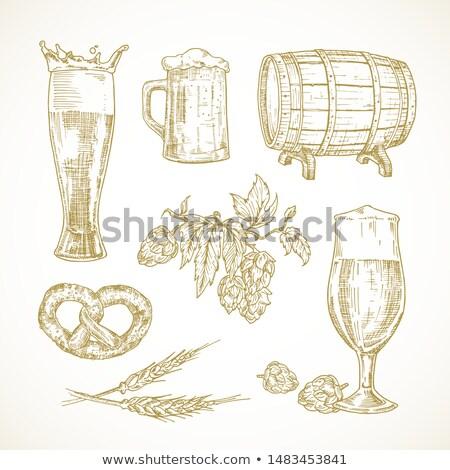Vat bier hop snack ingesteld tekening Stockfoto © robuart