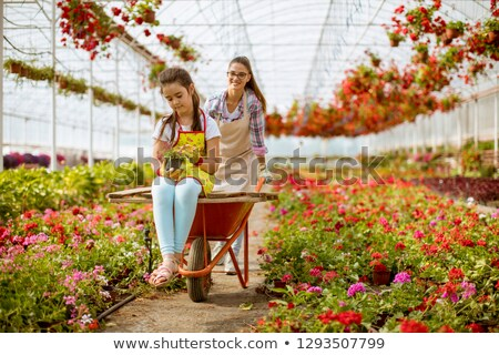 Young  playful florist enjoying work while one of them riding in Stock photo © boggy