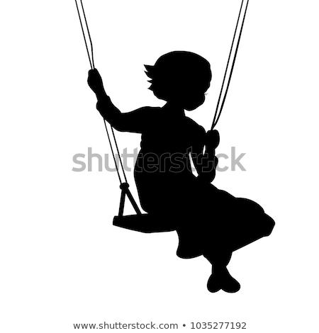 Küçük kız binicilik salıncak portre sevimli küçük Stok fotoğraf © Anna_Om