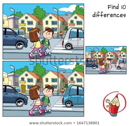 Encontrar diferenças jogo carros desenho animado ilustração Foto stock © izakowski