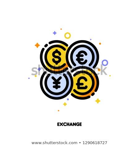 Icon wereld munten valuta uitwisseling schets Stockfoto © ussr