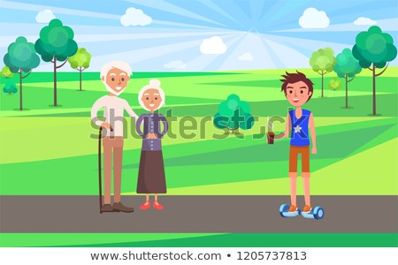 Student Teens and Grandparents in Park Vector Stock photo © robuart