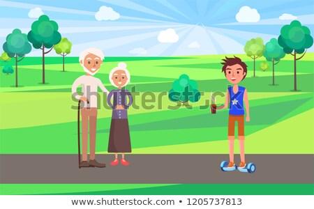 yaşlı · insanlar · vektör · dede · büyükanne · yüz - stok fotoğraf © robuart
