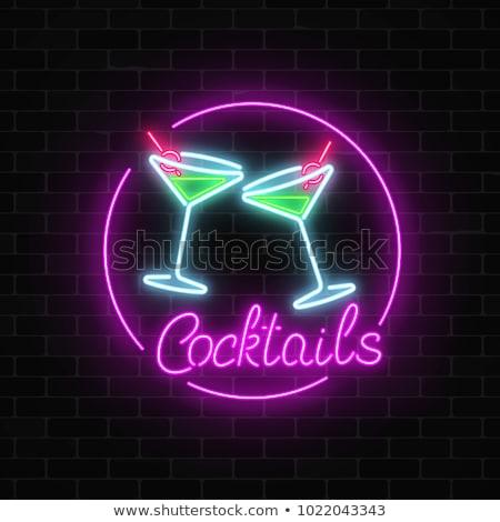glowing neon signboard karaoke bar vector illustration stock photo © konturvid