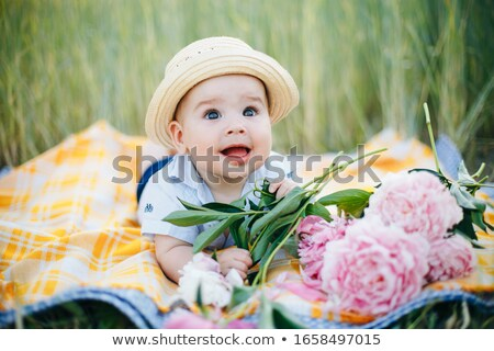 heureux · père · en · fils · fleurs · famille · enfance - photo stock © dolgachov