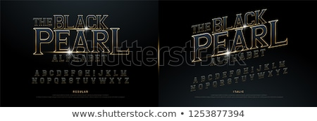 Chrome and Gold effect alphabet font with letters and numbers, bold style text vector illustration Stock photo © jeff_hobrath
