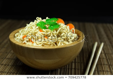 Cup noodle, Cooked instant cup noodle with ingredient on wood ba Stock photo © eddows_arunothai