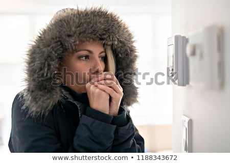 Woman With Warm Clothing Feeling The Cold Inside House Stock photo © Lopolo