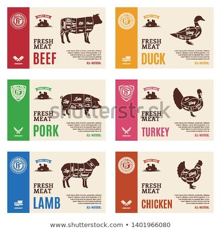 Domuz pastırması etiket bir yüz yüzde domuz Stok fotoğraf © colematt