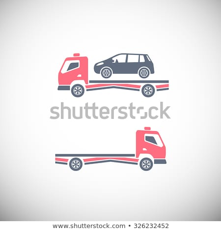 color vintage car tow truck emblem stockfoto © netkov1