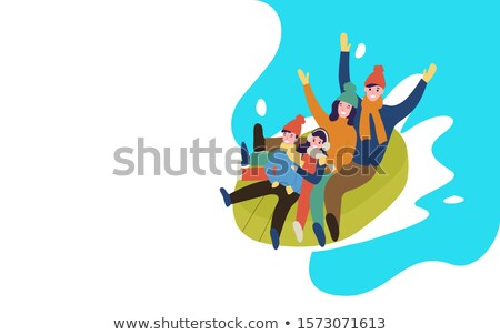 Snow Tubing Family Going Downhill on Rubber Web Stockfoto © robuart