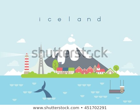 iceland nature vectorin a circle with symbols of landscapes an stock photo © giraffarte