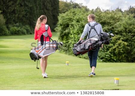 Stockfoto: Achteraanzicht · paar · golftas · golf · club