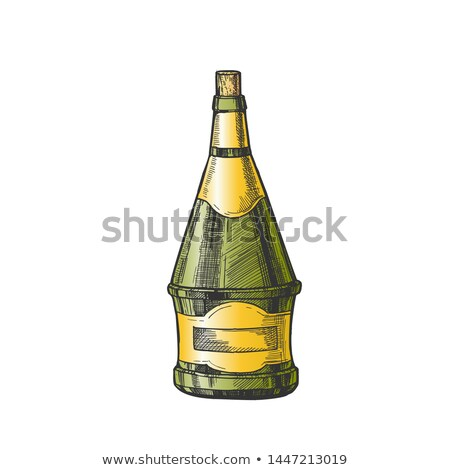 Conical Hand Drawn Blank Bottle Of Wine Vector Stock photo © pikepicture