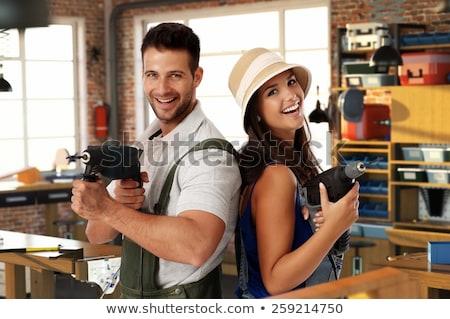 Construire heureux relations bel homme femme costume Photo stock © robuart