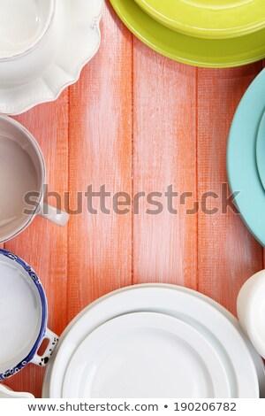 スタック · 料理 · 白 · 銀 - ストックフォト © marylooo