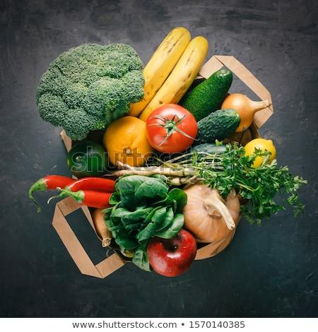 ストックフォト: 紙袋 · 異なる · 健康 · 野菜 · 食品 · 木製