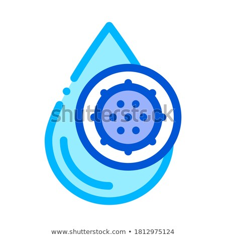 liquid drop with germ water treatment vector icon stock photo © pikepicture