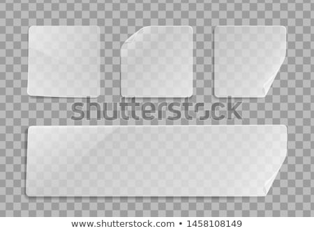 Vector blank transparent plastic square adhesive sticker mock up with curved corner. Empty quadratic Stock photo © Iaroslava