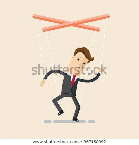 Subordinated puppet man with financial concept Stock photo © ra2studio