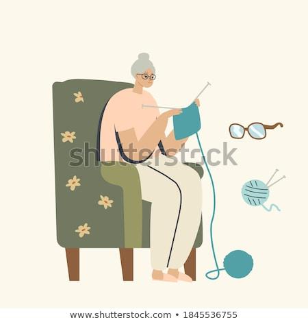 köt · nő · szék · lány · macska · otthon - stock fotó © robuart