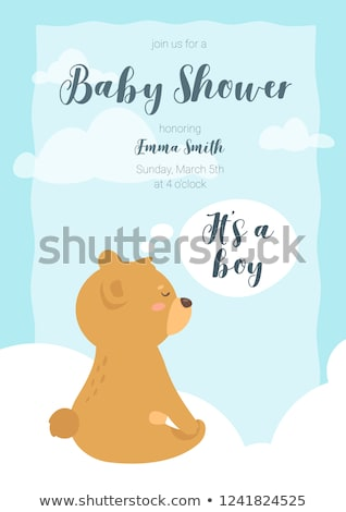 Baby Shower Poster, Infant Sitting with Teddy Bear Stock photo © robuart