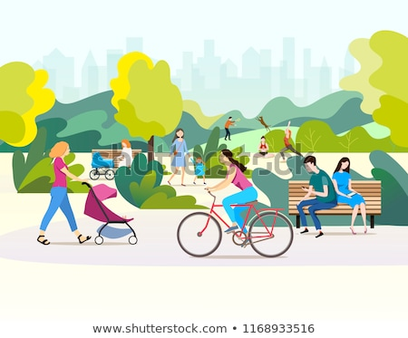 man and woman in park leisure in city vector stock photo © robuart