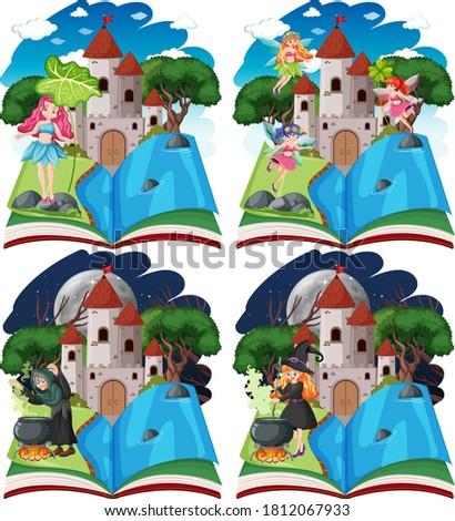 Bajki zamek wieża pop w górę książki Zdjęcia stock © bluering