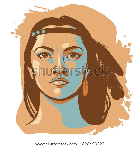 fiatal · őslakos · amerikai · nő · portré · gyönyörű · mosolyog - stock fotó © elenaphoto