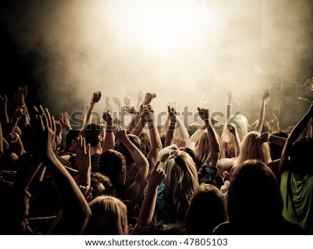 stage party crowd concert people hands silhouette stock photo © krisdog
