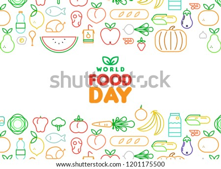 food day card of outline fruit and vegetable icons stock photo © cienpies