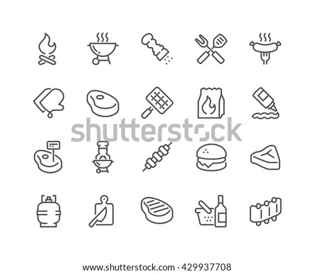 vector set of bonfire and grilled food stock photo © olllikeballoon