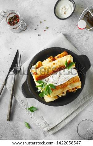 Pancakes stuffed with cream Stock photo © olira