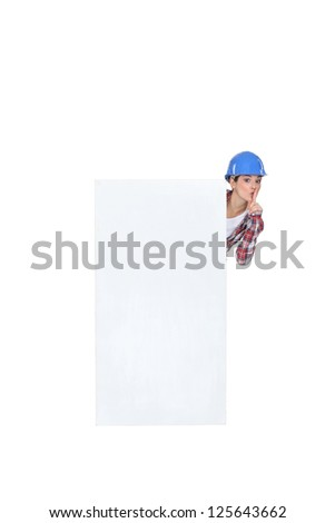 Female build stood by poster shushing Stock photo © photography33