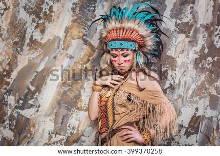 Młoda kobieta kostium american indian kobieta nude sexy Zdjęcia stock © Andersonrise