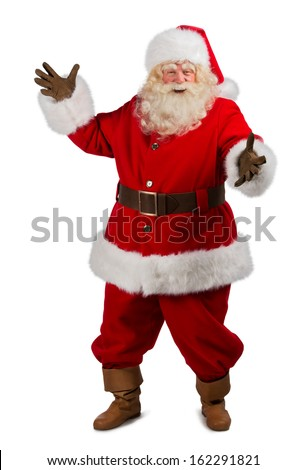 Santa Claus portrait expressing gesturing and presenting somethi Stock photo © HASLOO
