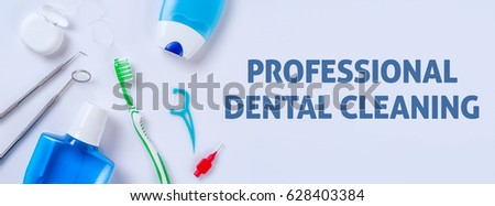 Oral care products on a light background - Professional dental c Stock photo © Zerbor