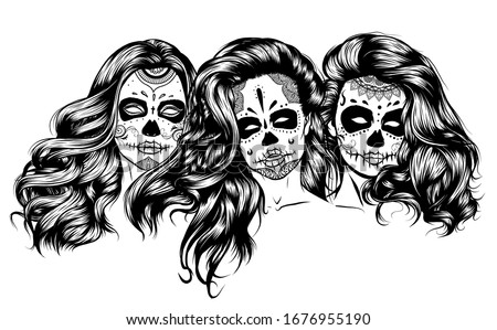 Zombie girl isolated. Dead woman. Vector illustration of hallowe Stock photo © popaukropa