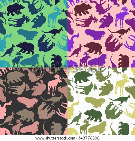 set animal pattern color options from ornaments of wild animals stock photo © popaukropa