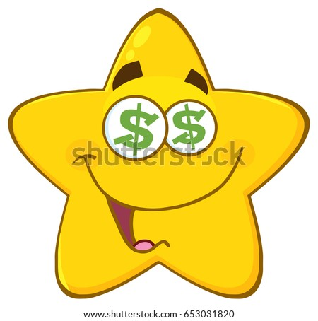 Funny Yellow Star Cartoon Emoji Face Character With Dollar Eyes And Smiling Expression Stock photo © hittoon