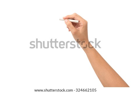 Hand holding chalk Stock photo © ra2studio