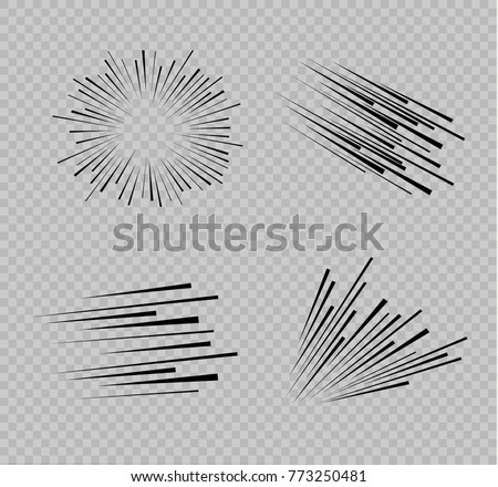 Speed Line Set. Horizontal Motion effect. Flying particles. Vector Stock photo © Andrei_