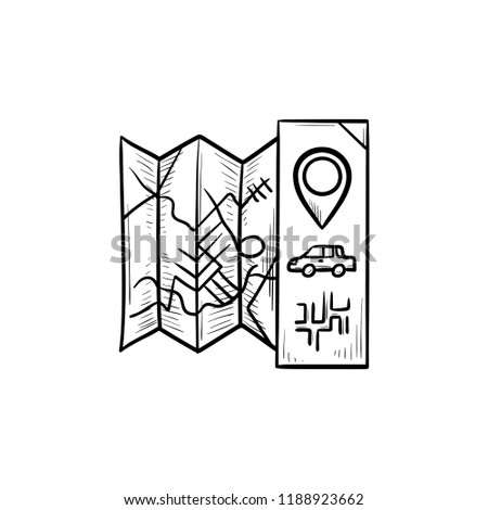 folded map with pointer and car hand drawn outline doodle icon stock photo © rastudio
