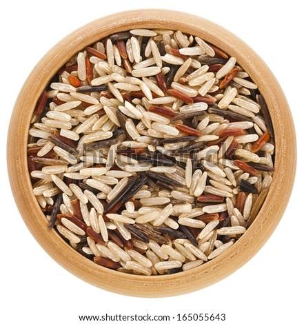 Wooden box of raw organic basmati long grain and wild rice on white background. Healthy food.  Stock photo © DenisMArt