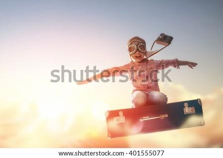 Fiú lány repülés égbolt illusztráció gyermek Stock fotó © colematt