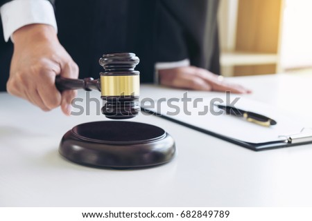 Close up of hand, Judge hitting gavel and scales of justice, Rep Stock photo © Freedomz
