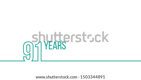 91 years anniversary or birthday. Linear outline graphics. Can be used for printing materials, brouc stock photo © kyryloff