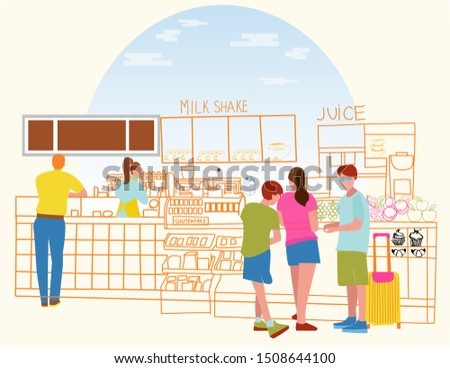 Cafeteria with juce bar, counter, barista serves coffee and stan Stock photo © Margolana