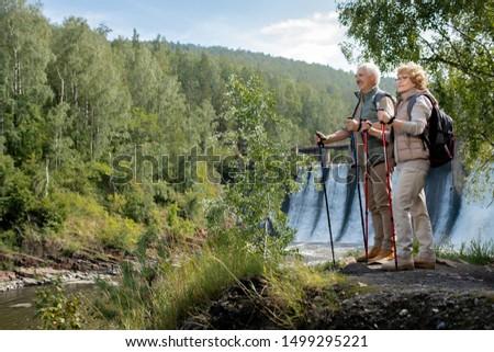 Due felice maturo backpackers piedi foresta Foto d'archivio © pressmaster